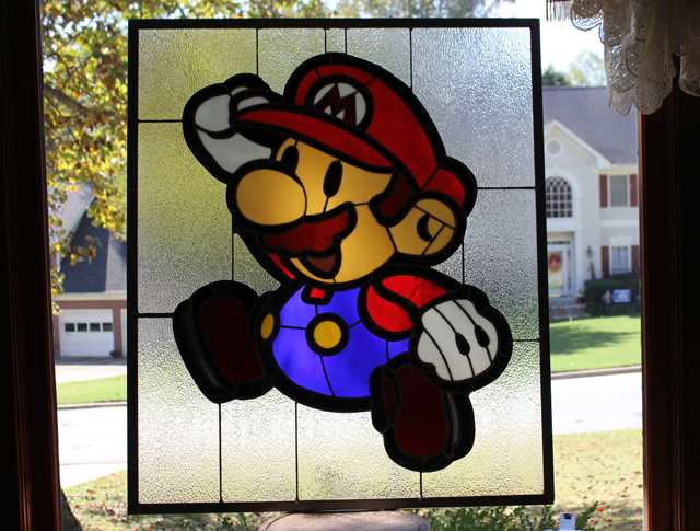 HUGE Paper Mario X Stained Glass Panel by Martian Glass Works