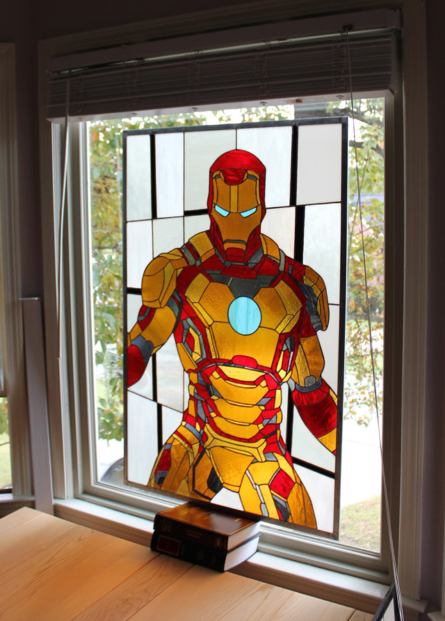 Iron Man 3 Mark XLVII Armor X Stained Glass Panel by Martian Glass Works