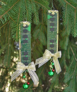 Recycled Computer Memory Christmas Tree Ornaments