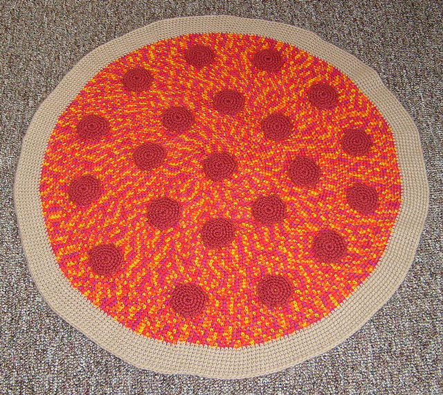 Crocheted Pizza Rugs