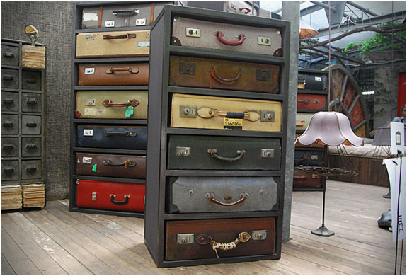 Vintage suitcase dressers by James Plumb