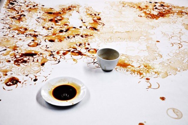 Coffee Ring Stain Portrait by Hong Yi