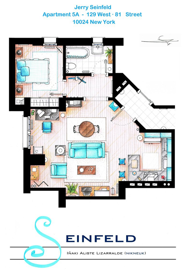 Hand Drawn Floor Plans Of Popular Tv Show Apartments And
