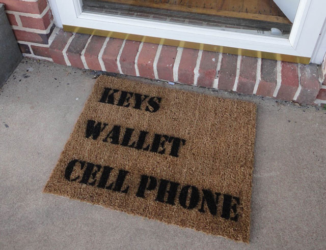 Keys Wallet Cell Phone Door Mat by Spoon Popkin