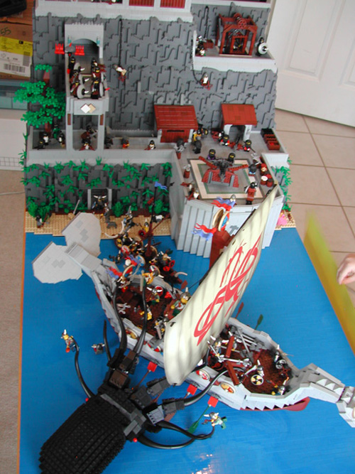 Lego Diorama Of A Kraken Defending A Dwarf Castle Against Vikings