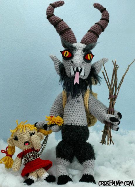 Fabulously Demonic Crocheted Krampus Doll Holding Captured Children