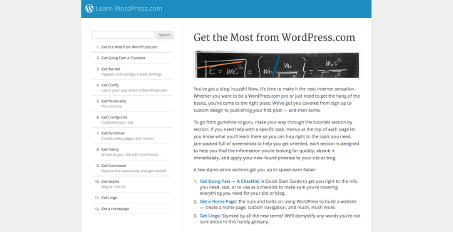 WordPress tutorial site