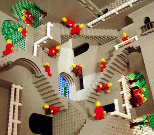 Lego Versions of M.C. Escher Drawings