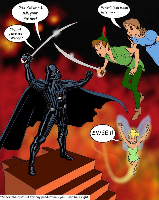 Peter Pan Skywalker vs. Darth Hook by Nick Perks