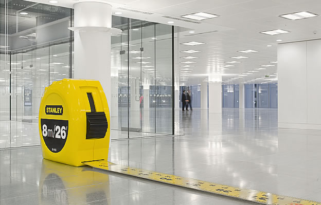 giant office supplies used as partitions in london office