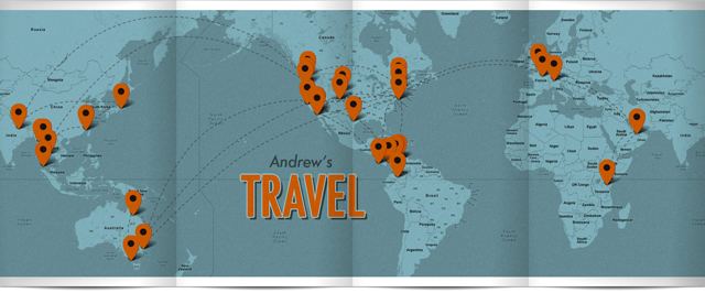 Map of Andrew's Travels
