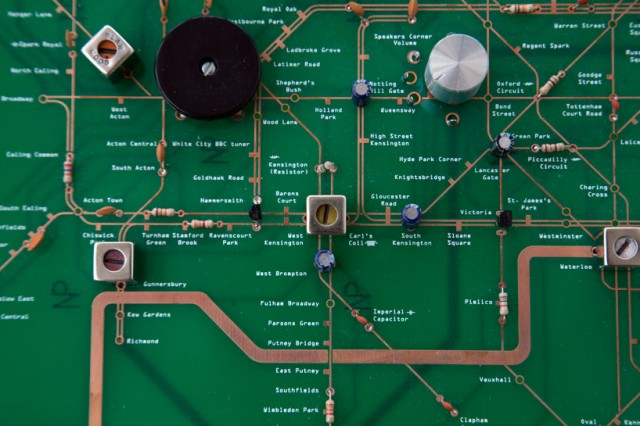 London Underground circuit board map by Yuri Suzuki