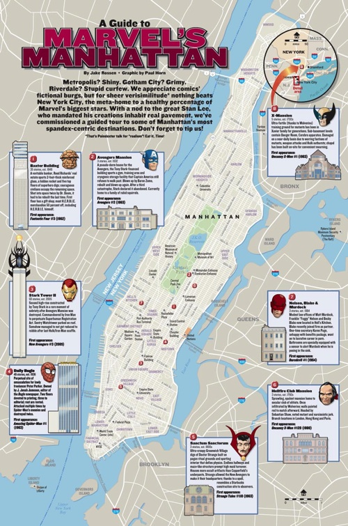 a map of marvel comics locations in manhattan