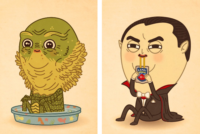 Creature from the Black Lagoon and Count Dracula by Mike Mitchell