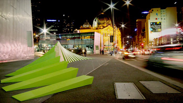 M bius an optical illusion interactive public sculpture for Melbourne space design