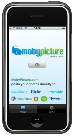 Mobypicture http://laughingsquid.com/mobypicture-simultaneously-upload-iphone-photos-to-multiple-services/