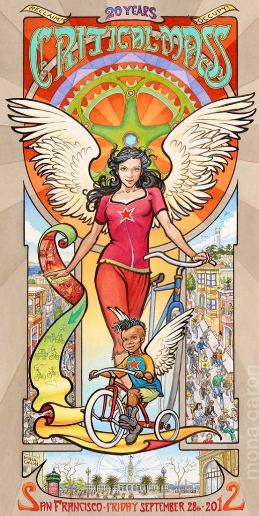 Critical Mass 20th Anniversary Bike Angel Poster by Mona Caron