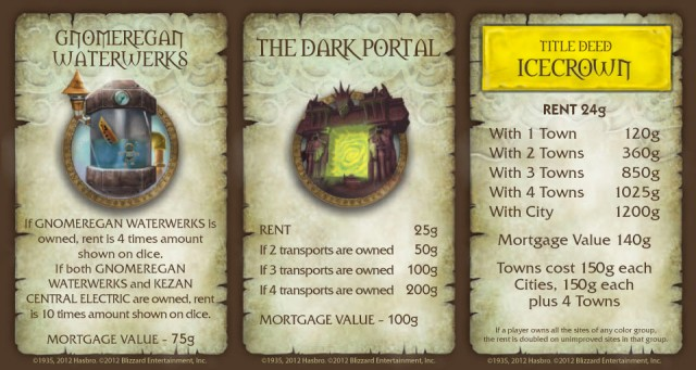 Monopoly World of Warcraft CE Cards