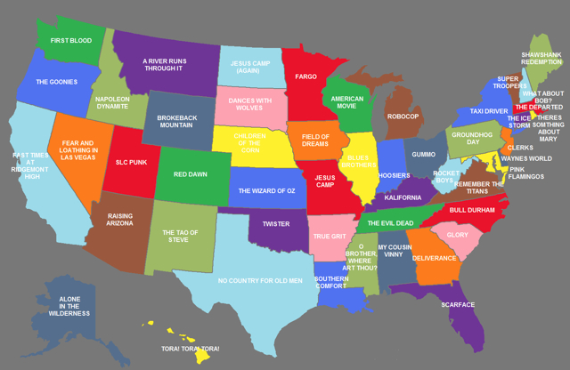US Map Showing The Movies That Represent Each State - Map of us reddit user