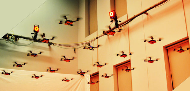 Nano quadrotors flying in formation