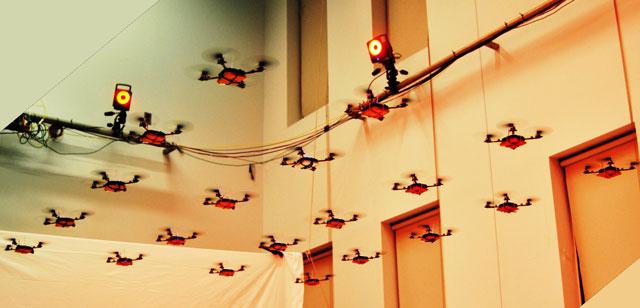Nano quadrotors flying in formation