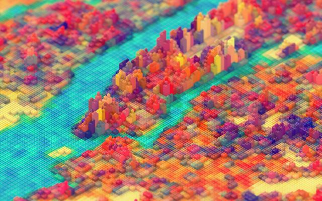 LEGO New York 3D Design Based On Maps Satellite Imagery