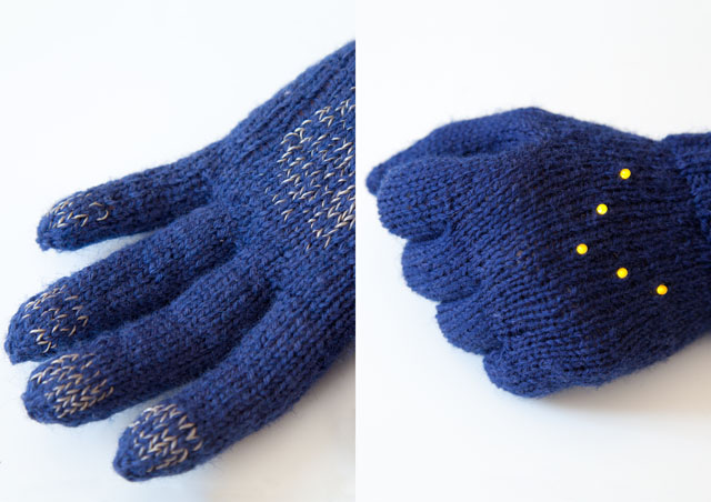 Night Biking Glove with LED turn signals by Irene Posch