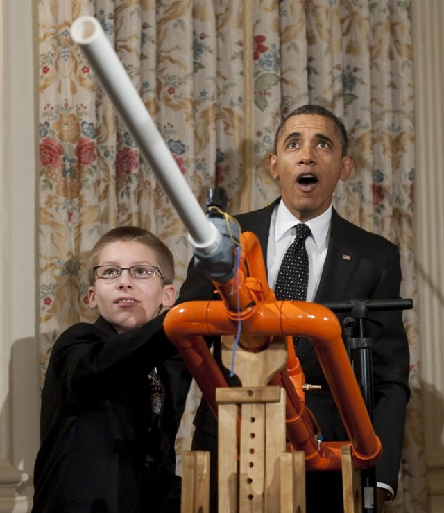 Obama and Marshmallow Cannon