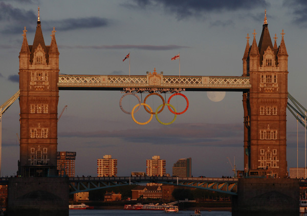 Photo of moon as 6th Olympic ring by Luke MacGregor