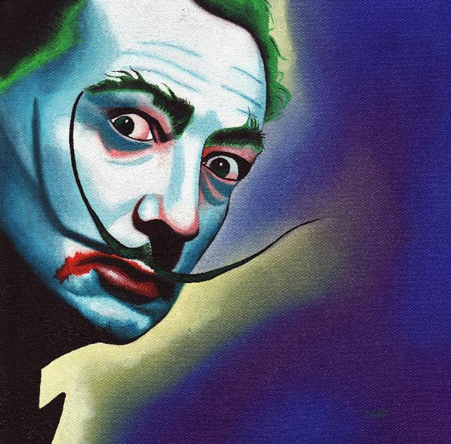 Salvador Dali His Surrealist Artwork Get A Batman Joker Makeover