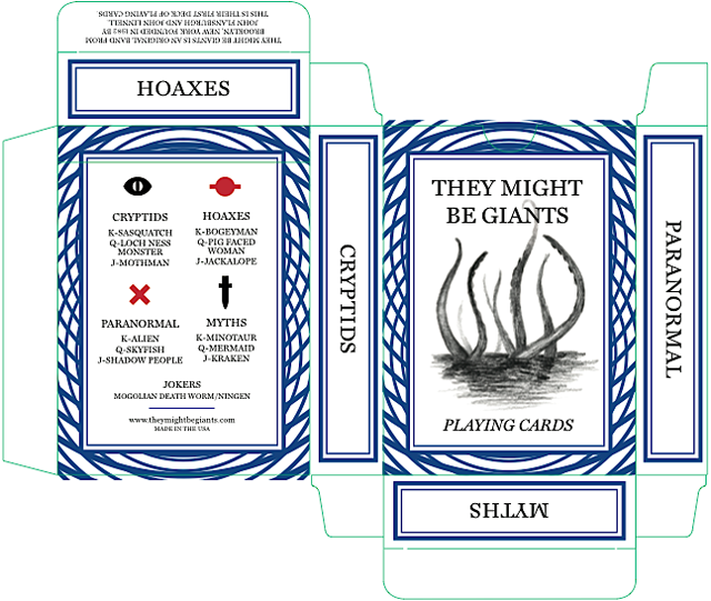 They Might Be Giants' Paranormal, Cryptid, Myths and Hoaxes Playing Cards