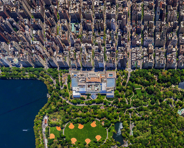 Aerial panorama photo of new york city's central park