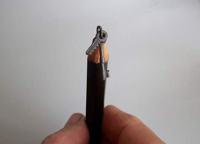 Intricate carved pencil sculptures