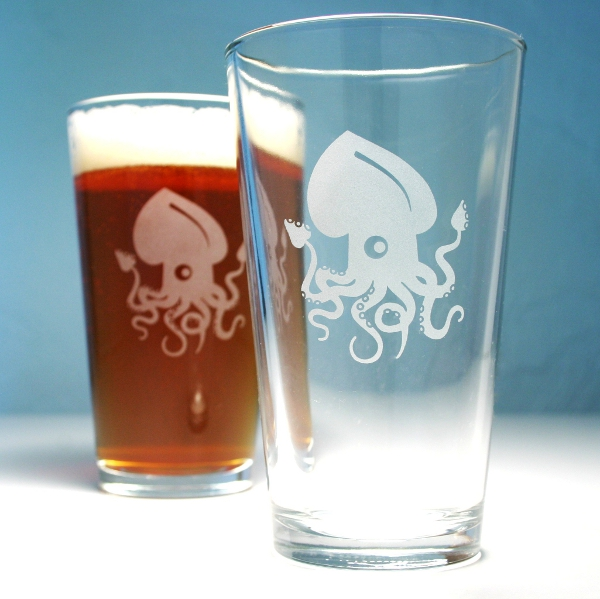 Squid Pint Glasses