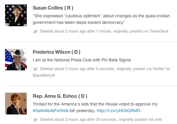 Politwoops, Deleted Tweets from Politicians