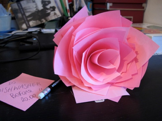 Rose Made Out of Post-It Notes