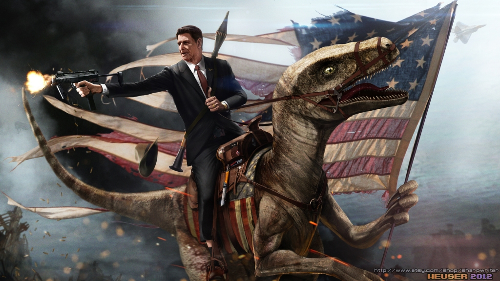 Ronald Reagan Riding His Presidential Government Issued Velociraptor