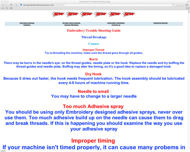 the craziest embroidery trouble shooting guide on the internet rh laughingsquid com Troubleshooting List Computer Troubleshooting
