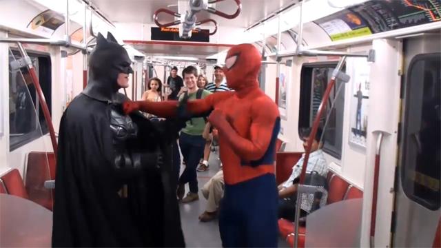Spider-Man vs Batman Have Epic Battle in Toronto