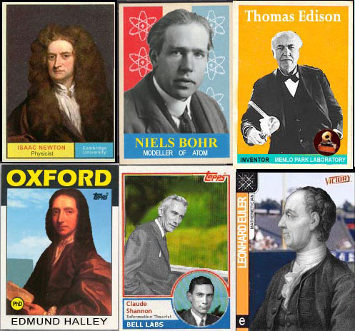 Scientist trading cards by All Too Flat