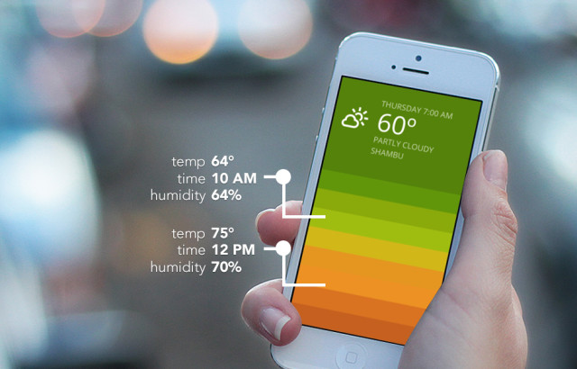 blue simple weather app that displays forecast with colors - Colors App