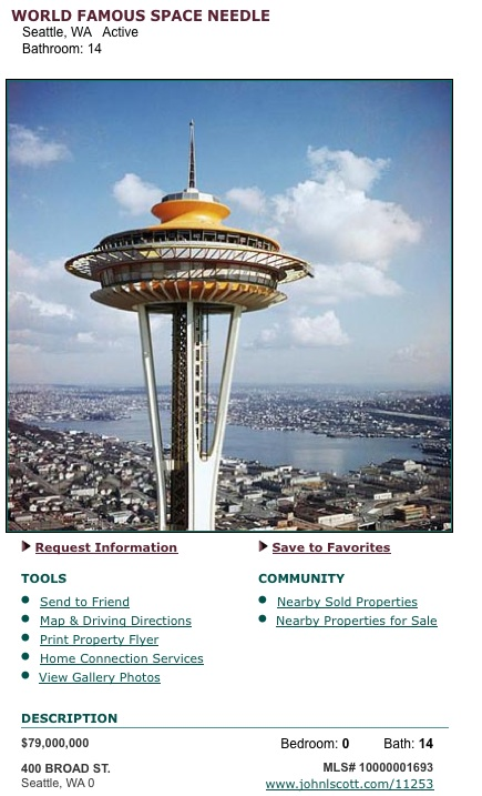 Seattle Space Needle Is For Sale  Current Asking Price Is  79 Million. Dinner Seattle Space Needle. Home Design Ideas