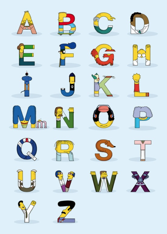 Characters From The Simpsons In The Form Of Letters Of The Alphabet