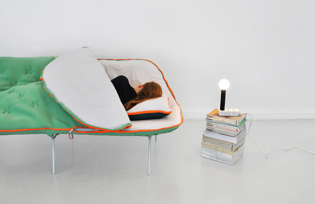 Camp Daybed, A Sofa with a Built-In Sleeping Bag