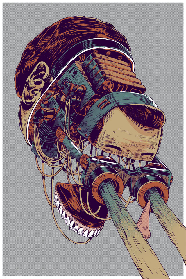 Deconstructed head illustrations by Smithe