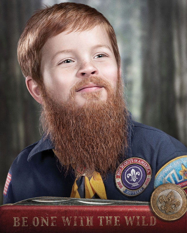 Bearded boy scout ad