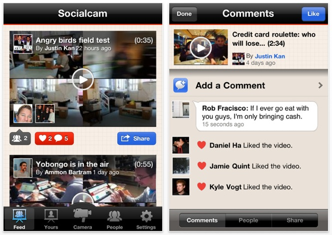 socialcam介面