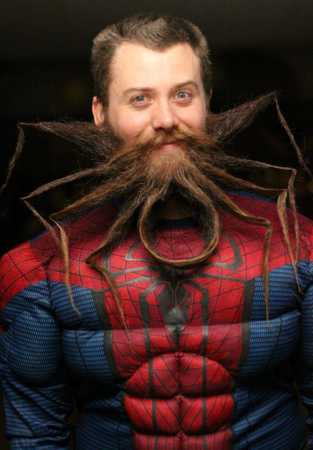 Beard shaped like the spider man logo