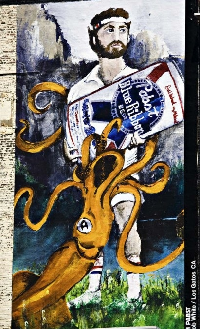 Pabst Blue Ribbon Giant Squid Mural