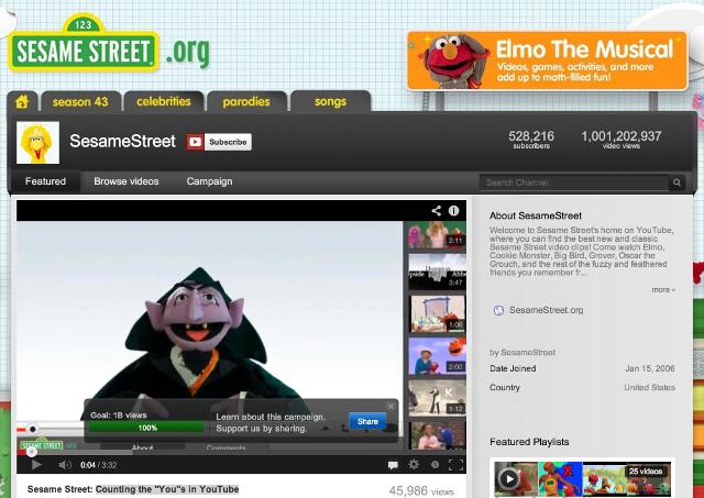 Sesame Street YouTube Account Hits One Billion Views